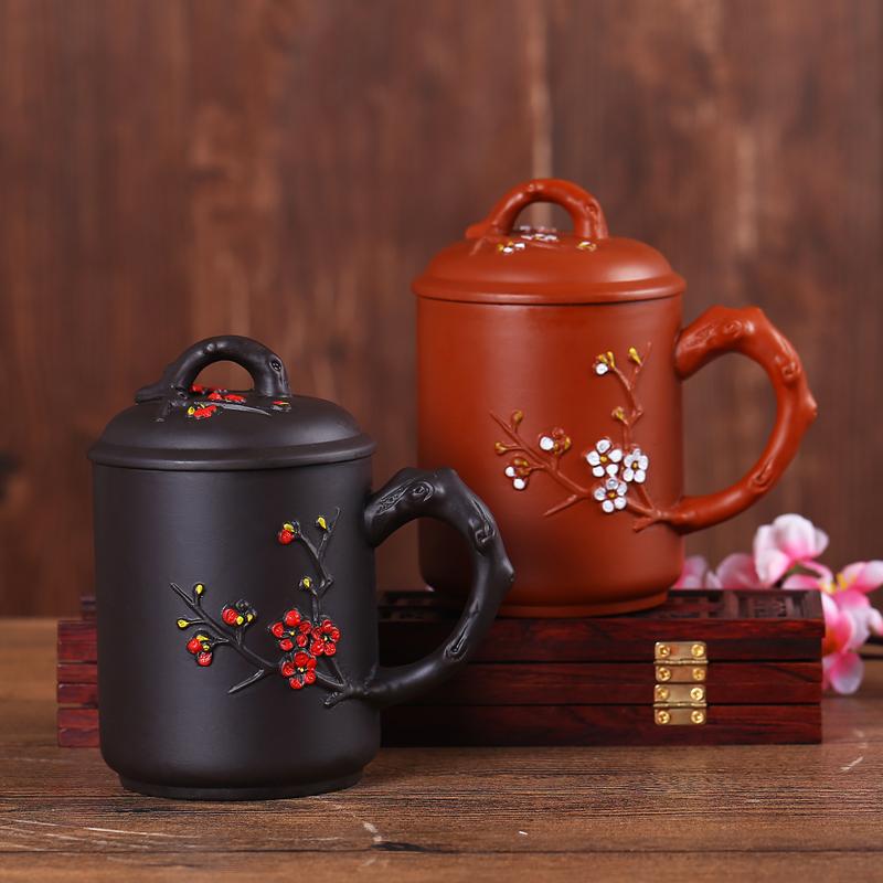 紅色宜興紫砂杯茶具泡茶杯功夫茶具家用茶杯過濾帶蓋水杯子陶瓷辦公杯
