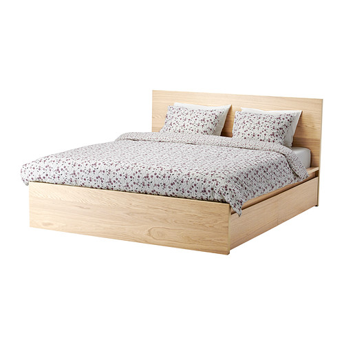 IKEA genuine Sodermalm high bedstead with 2 storage boxes, white oak veneer, Lang Seth