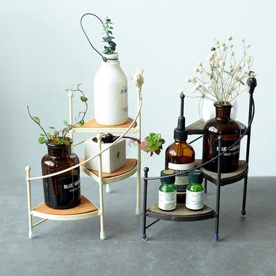 日式铁艺创意小型三层装饰置物架家居摆件展示架多肉盆栽桌面花台