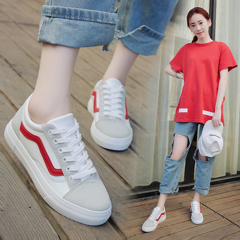 小白鞋女夏季2017新款港風板鞋百搭休閑學生韓版原宿街拍帆布鞋子
