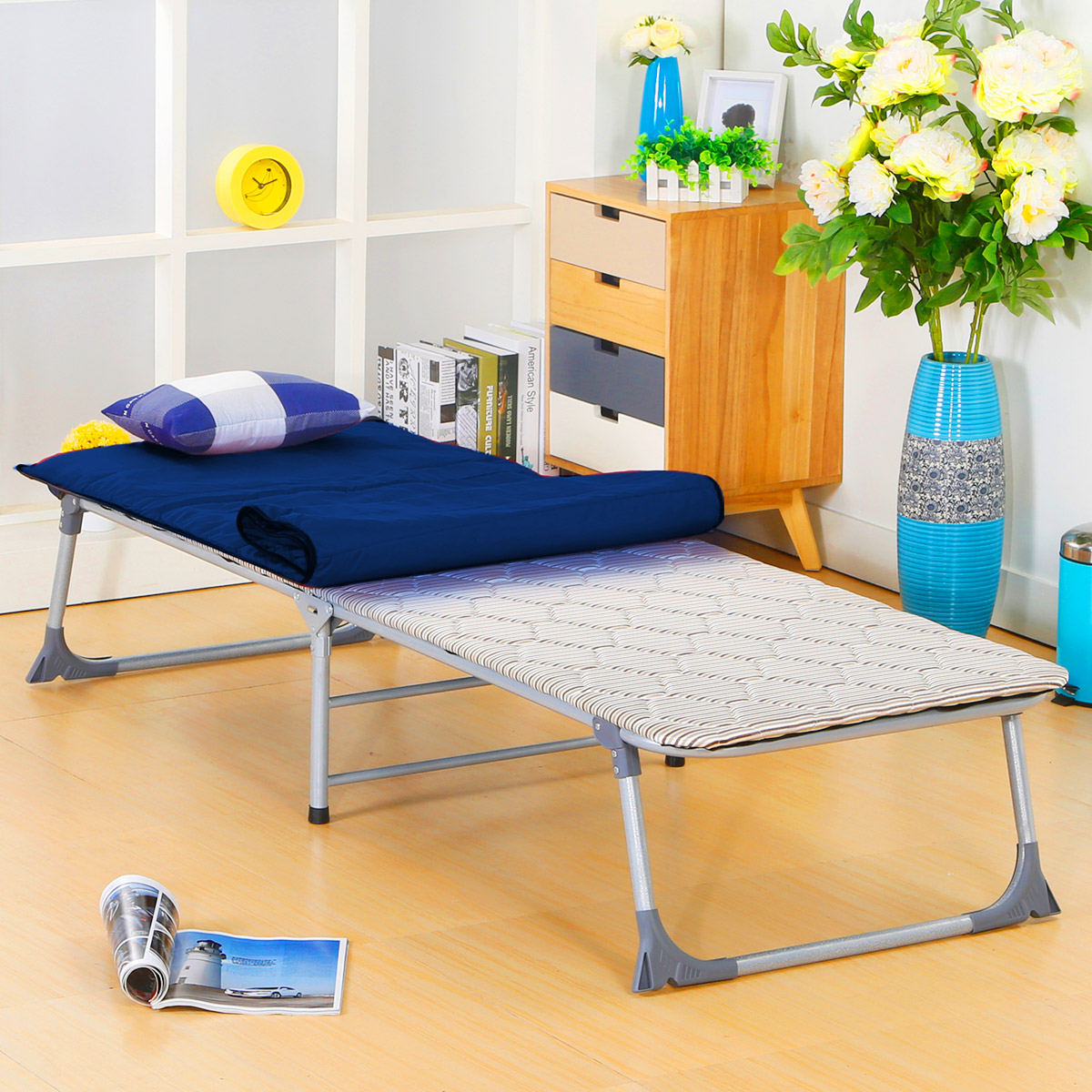 Huama folding bed single bed hard plank bed thin sponge nap bed office nap bed Cots