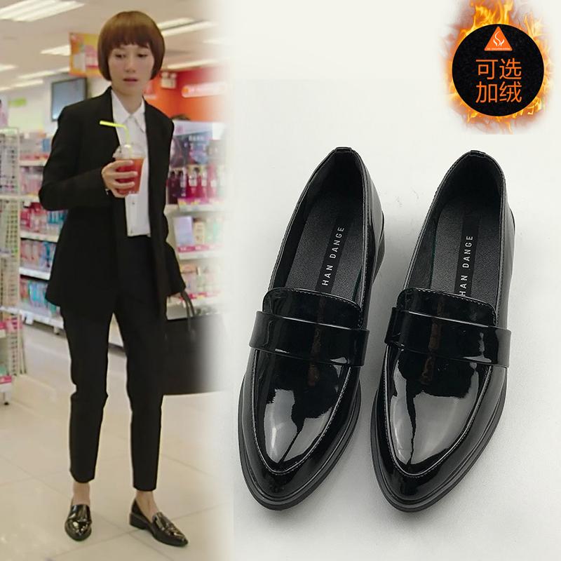 我的前半生唐晶同款鞋英倫風女鞋復古單鞋平底小皮鞋女加絨工作鞋