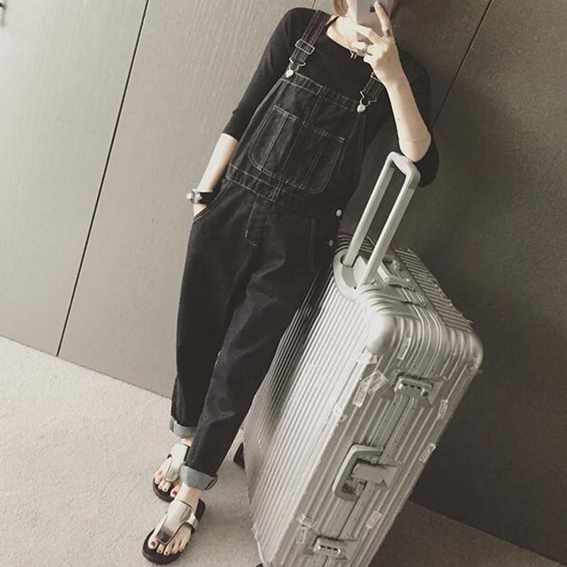 2016春装新款BF风宽松大口袋牛仔背带裤女学生哈伦小脚裤休闲长裤