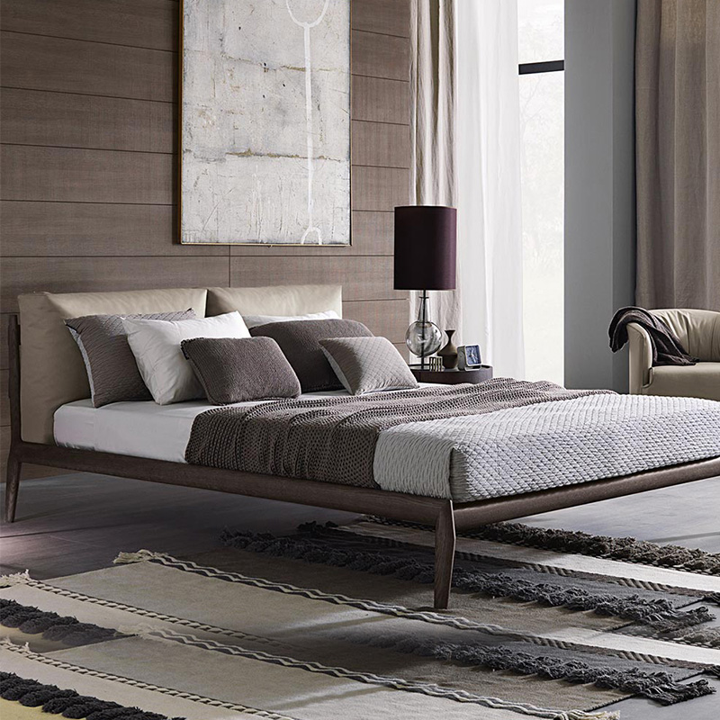 The whole wood bed modern minimalist 1.8 meters 1.5 meters down the soft bed double bed ash wood