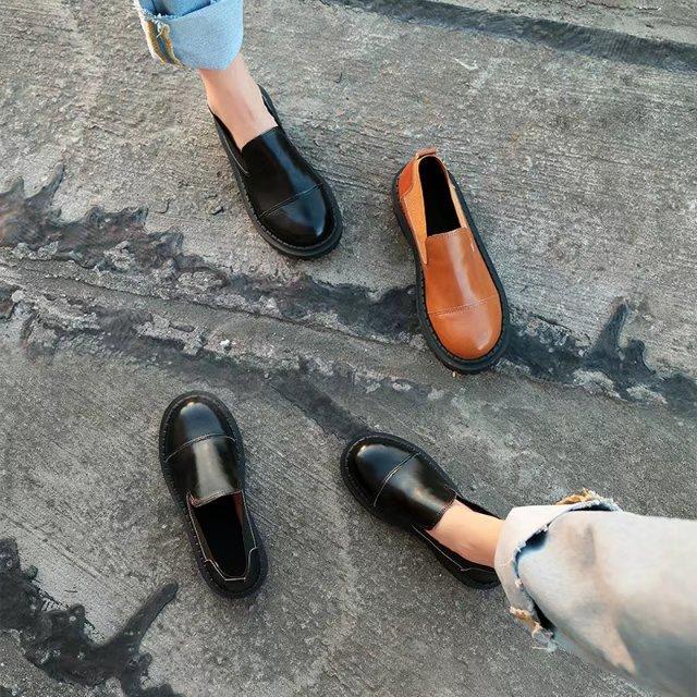 韩版ulzzang原宿小皮鞋大头娃娃鞋英伦学院风圆头厚底单鞋女日系