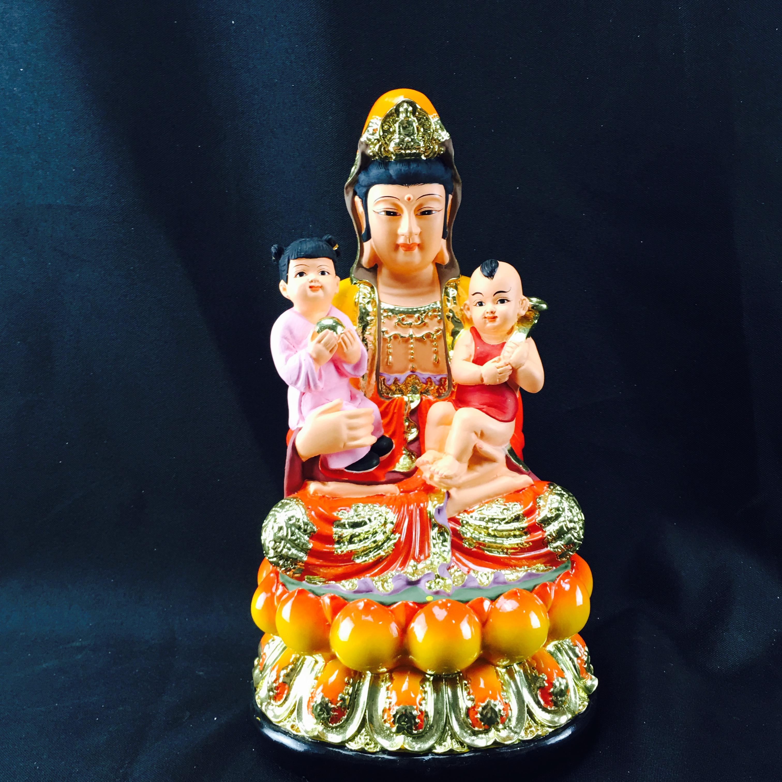 12寸送子觀音送子娘娘佛像工藝品擺件家居佛堂顯靈求子雙胞胎裝飾品
