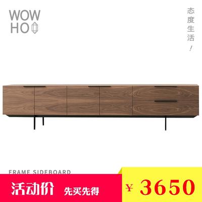 [WOWHOO]极简现代轻奢电视柜胡桃木色电视柜简约电视柜家具地柜