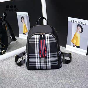 姗奈儿SNE2018新款简约双肩包 夏季韩版休闲格纹铆钉拉牌女士背包