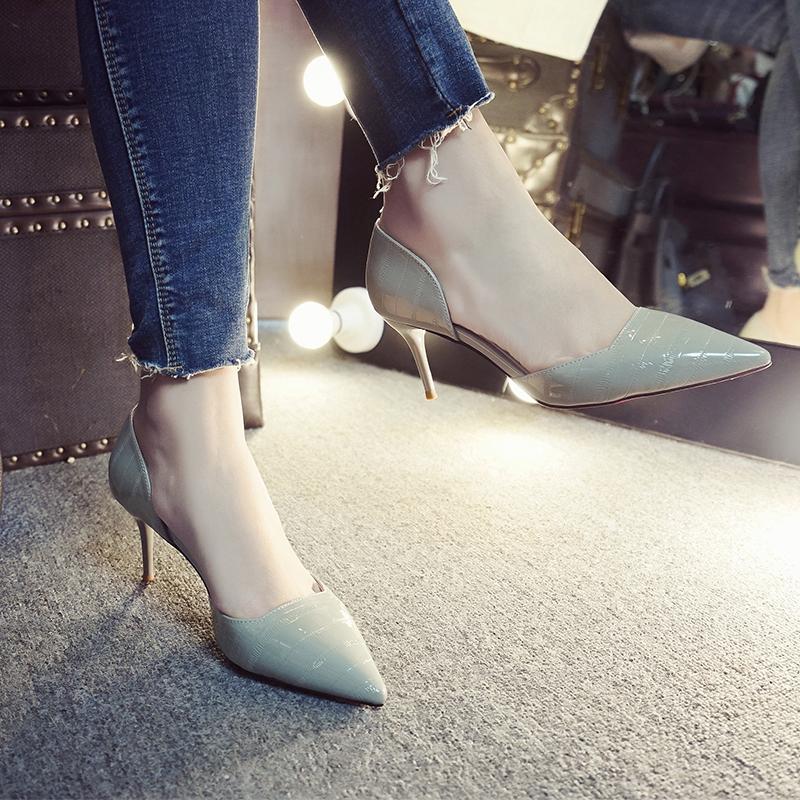 天天特價尖頭矮跟淺口中空細跟單鞋女高跟鞋側空灰色單鞋中跟涼鞋