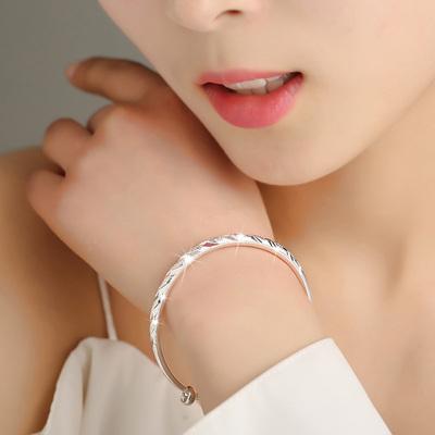 正品s999纯银手镯女生时尚实心银手镯学生手环饰品送女友妈妈礼品