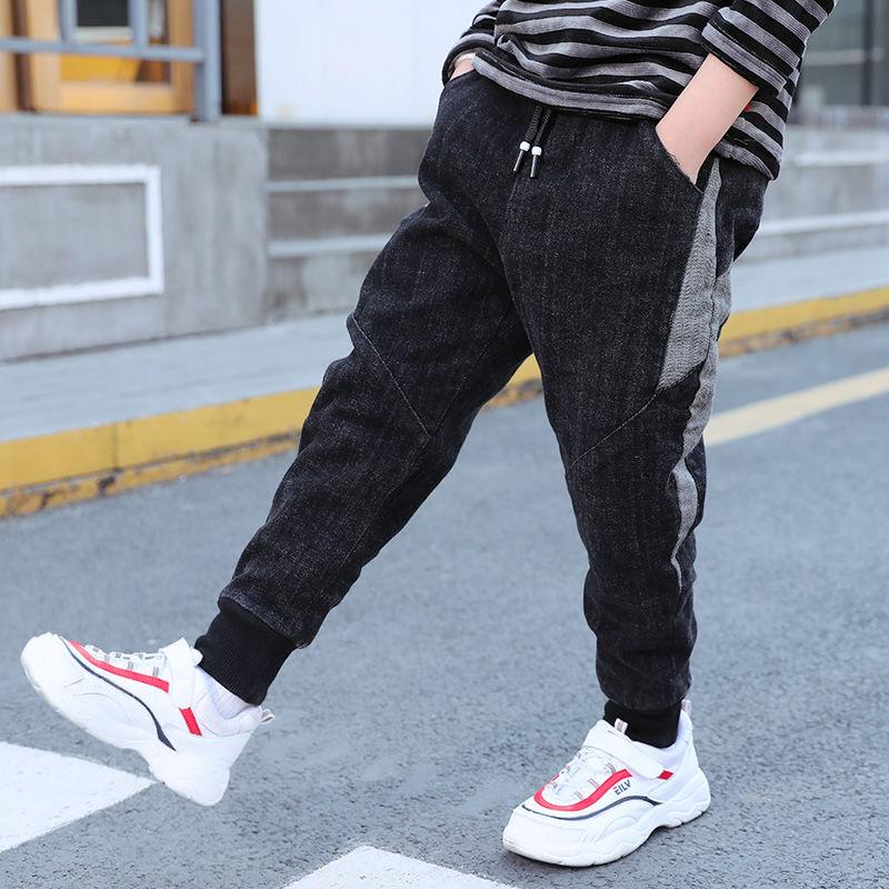 男童牛仔裤秋冬装加绒加厚