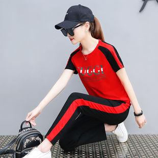 纯棉休闲运动套装女2020年新款短袖T恤跑步服卫衣时尚潮两件套女