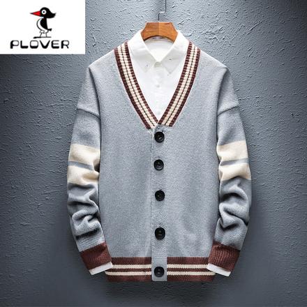 【啄木鸟】秋装新品针织衫男士外套男休闲开衫毛衣修身v领上衣潮