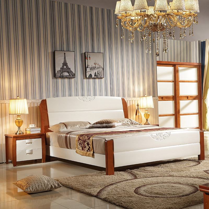 All solid wood bed 1/1.2/1.35/1.5/1.8 meters m single white children bed oak double storage bed