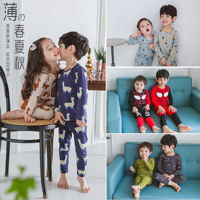 Children's Pajamas boys thin section cotton spring and autumn baby girl air conditioning suit long sleeve