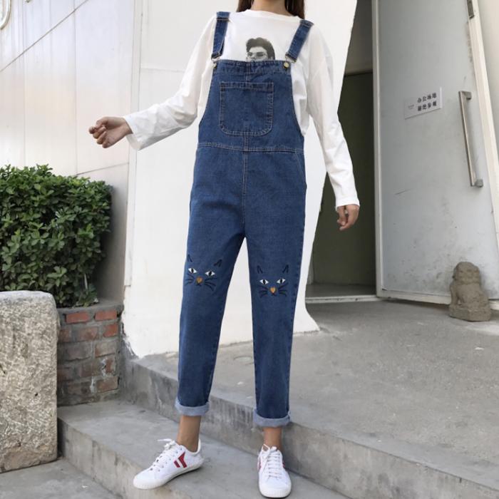 秋装女装韩版可爱卡通猫咪刺绣牛仔裤高腰卷边长裤学生宽松背带裤