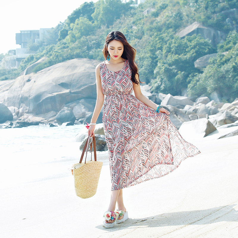 Beach skirt sleeveless print dress dress