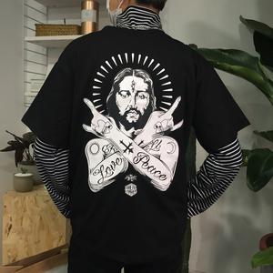 原创潮牌恶搞耶稣短袖 宗教风嘻哈hiphop情侣T恤