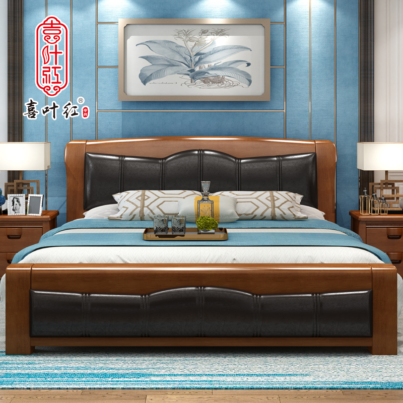 Soft bed by 1.8 meters double bed 1.5M Chinese storage bed simple modern hard bed leather bed special offer