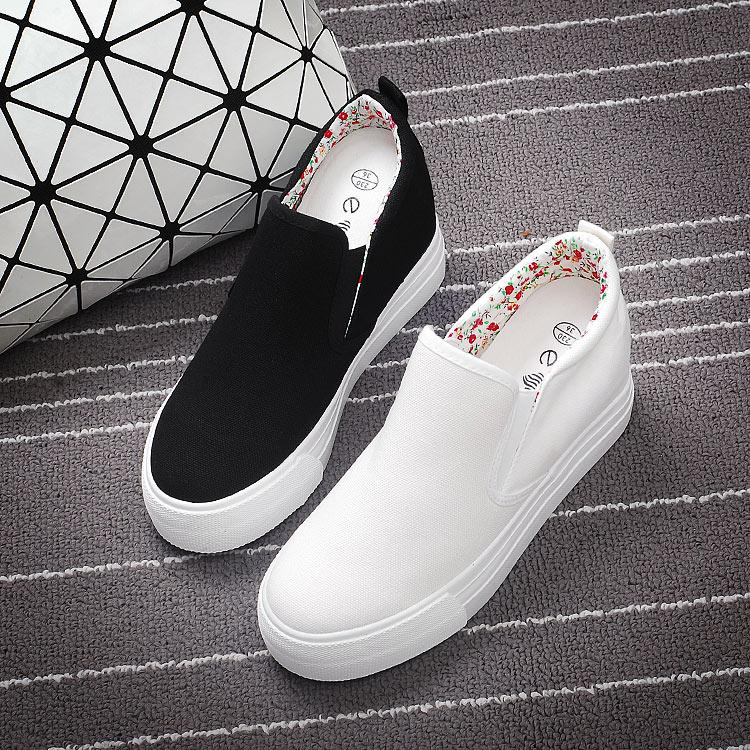 2017夏季新款布鞋小白鞋女內增高厚底一腳蹬百搭秋季懶人鞋帆布鞋