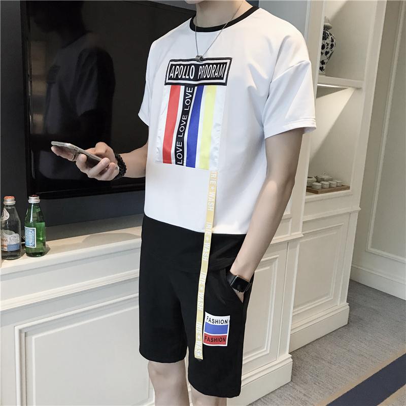 男士套装夏季2018新款韩版短袖t恤百搭港风日系休闲一套TZ825P60