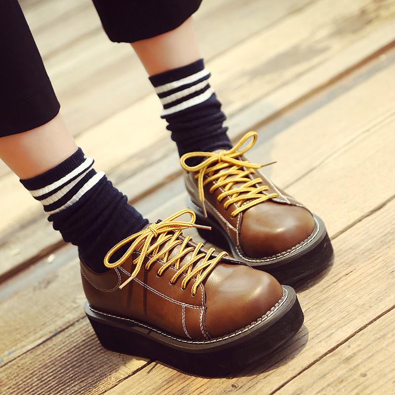 学院风软妹复古大头鞋