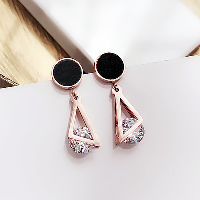 Women's Earrings Triangle round diamond titanium steel earrings female Korean simple earrings geometric earrings