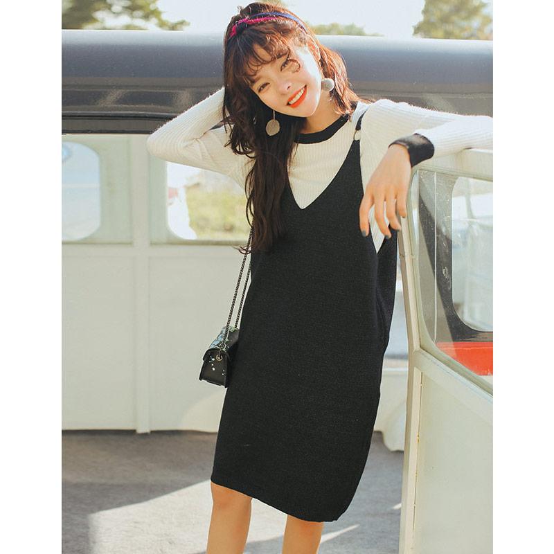 实拍3007#修身针织背带裙女秋冬款套装两件套吊带中长款毛衣裙子1