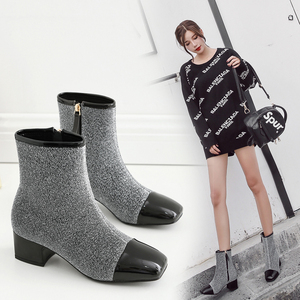 优雅小香风拼色短靴方头加绒保暖平底靴子女侧拉链舒适裸靴380