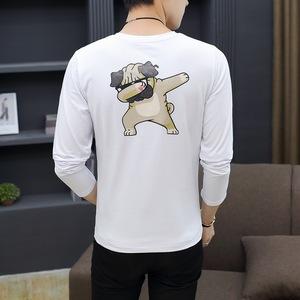 男式T恤长袖圆领印花小狗秋冬装青少年修身韩版个性棉T恤