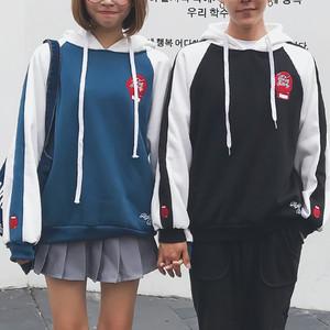 韩国ulzzang情侣卫衣女2018秋季亚博开户学生宽松bf长袖连帽上衣班服