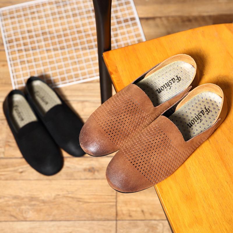 乐福鞋男单层皮夏季新款镂空洞洞透气商务休闲皮鞋软皮套脚男鞋子