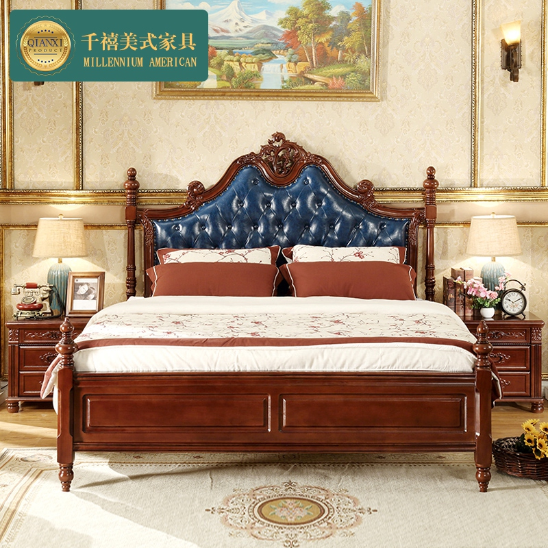 Simple and beautiful countryside master bedroom bed bed bed soft leather wedding all solid wood bed double bed by 1.8 meters