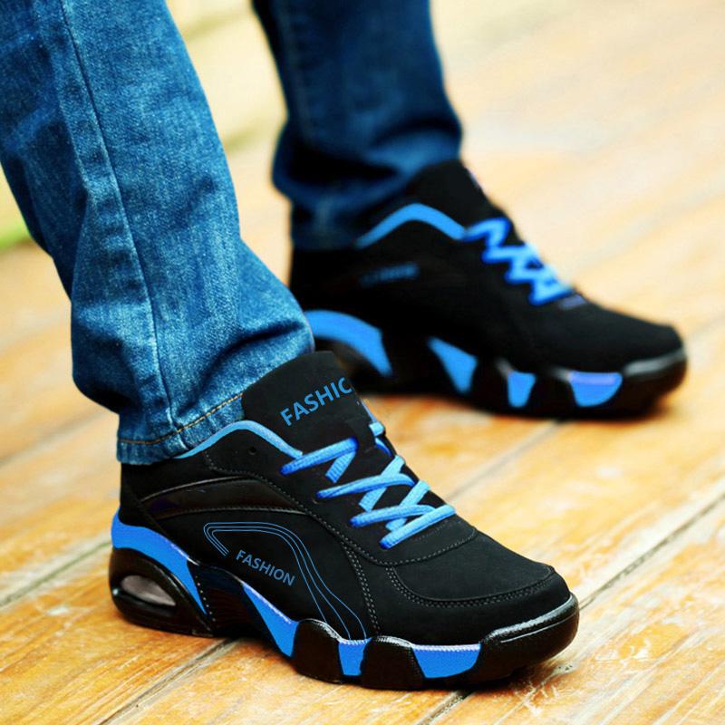 冬季男鞋潮鞋加绒保暖棉鞋运动鞋气垫跑步鞋皮面休闲鞋百搭鞋子男
