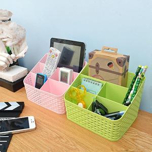 桌面收纳多格化妆品收纳盒桌面置物架遥控器杂物分类整理盒化妆盒