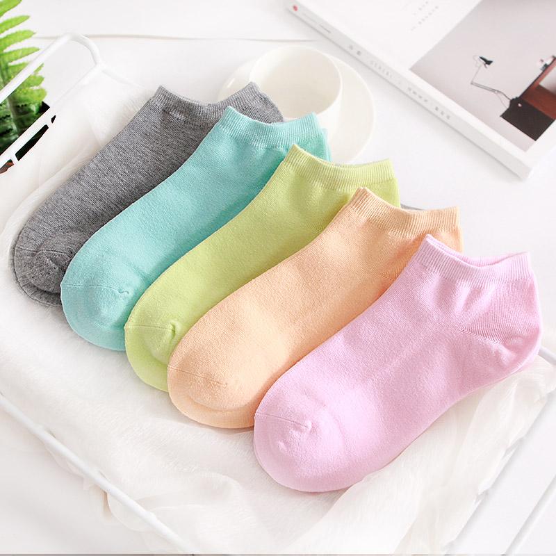 春夏纯棉低帮浅口女士短袜纯色薄款糖果色可爱日系袜子女短筒船袜