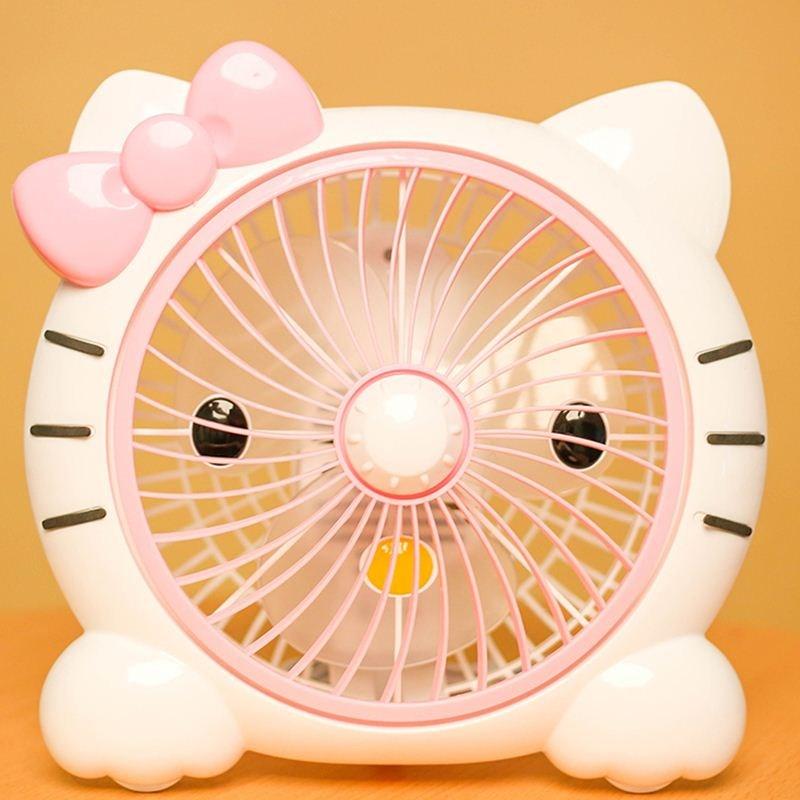 Small electric fan, mini cartoon, big white desk type plug in 10 inch dormitory office bed