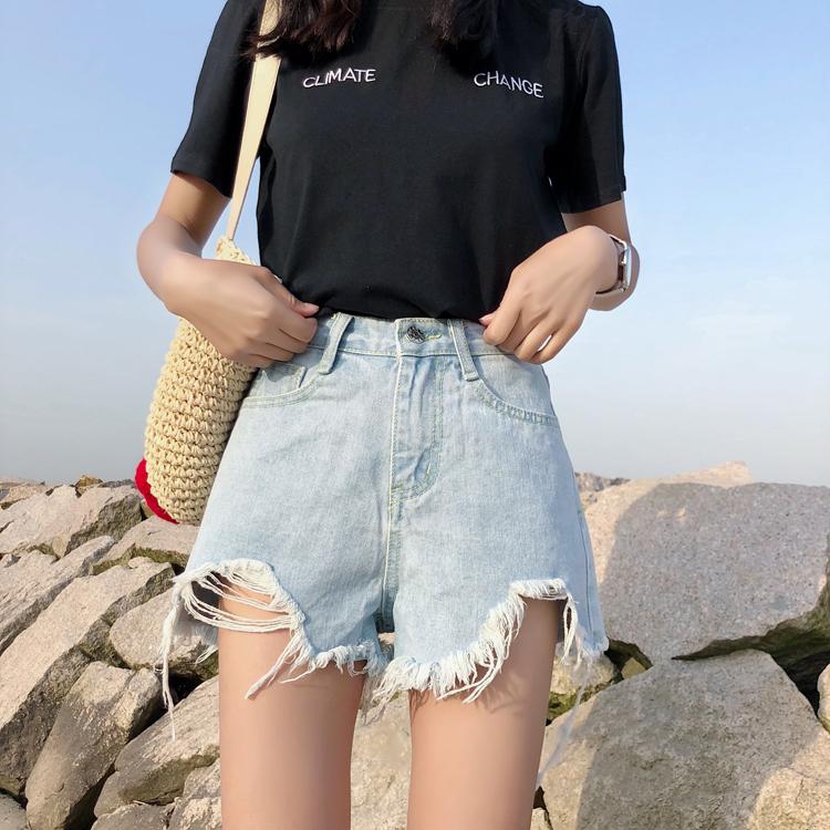 实拍新款韩版破洞女学生百搭宽松牛仔短裤热裤