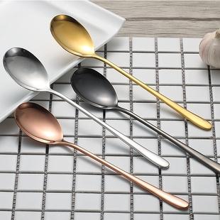 【天天特价】2支装韩国304实心不锈钢勺子长柄饭勺汤勺钛合金勺子