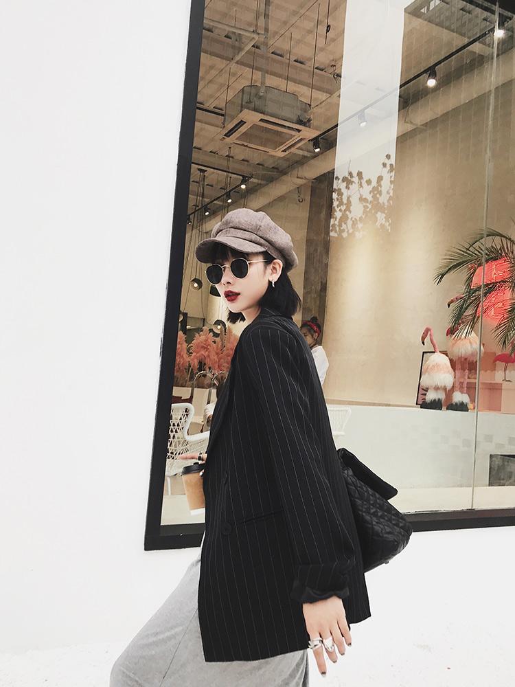 小西装外套女 2017秋装新款 复古chic百搭显瘦气质竖条休闲西服潮