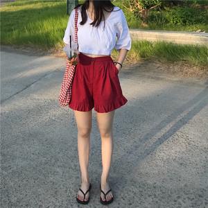 实价实拍9521#新款女装韩版宽松时尚荷叶边高腰阔腿裤