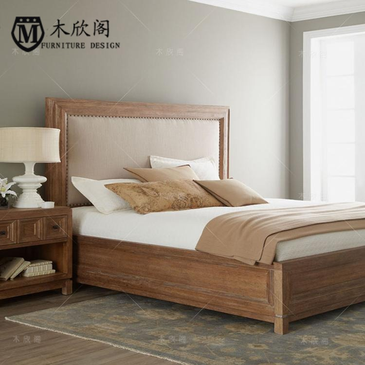 American Rural simple do old solid wood soft bed, French 1.81.5 meters double bed, marriage bed oak can be customized