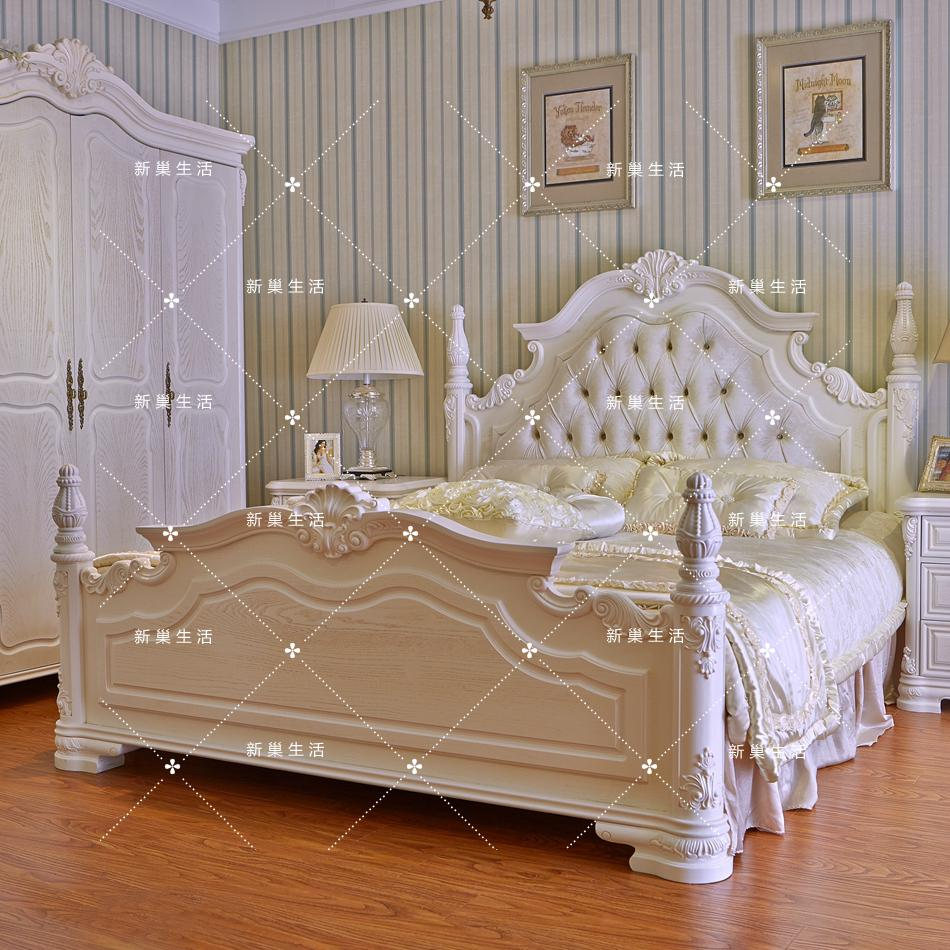 European style white oak bed, French pastoral princess bed, double bed, antique soft, luxurious wedding bed