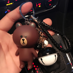 钥匙扣女韩国可爱布朗熊汽车包包挂件饰品腰挂创意情侣毛绒圈环链