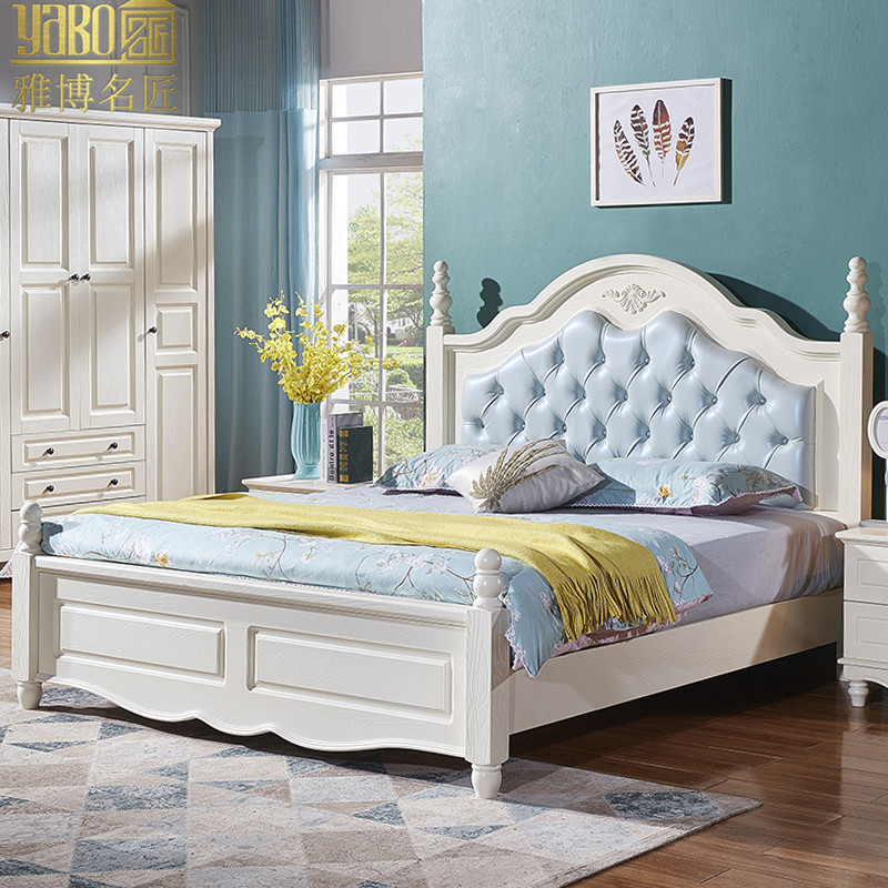 American style solid wood bed, 1.8 meters double bed, European style style Princess bedroom, simple white with soft marriage bed