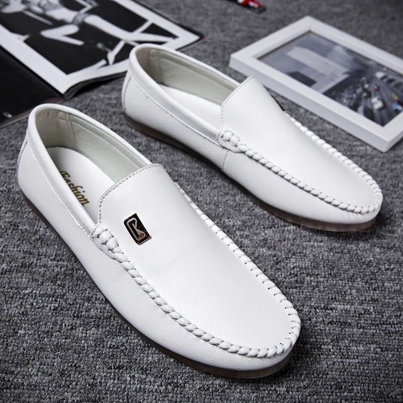 夏季透气白色豆豆鞋男青春潮流韩版一脚蹬懒人鞋透气皮鞋帆船鞋子