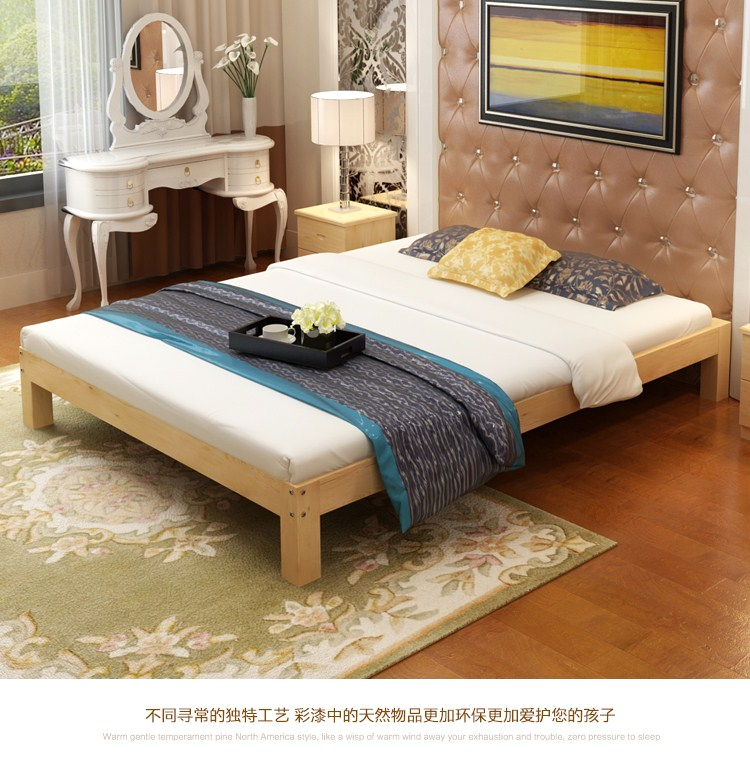 Modern minimalist pine single bed double bed frame 1.21.5 tatami bed 1.8 meters without bed 1 wood logs
