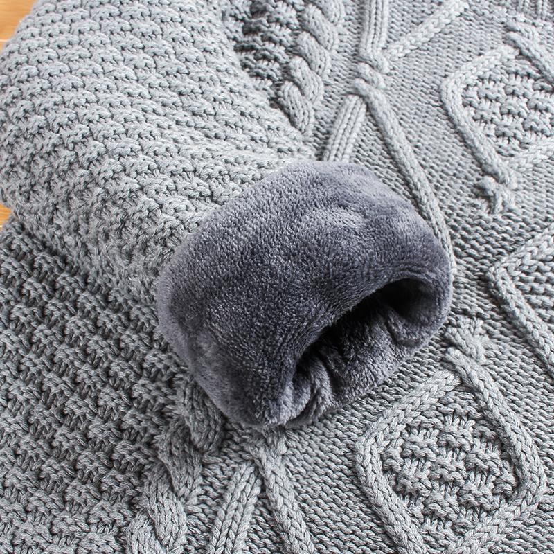 冬季加绒加厚男士毛衣圆领针织衫保暖韩版男装羊毛衫半高领打底衫