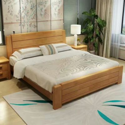 Factory direct selling solid wood 1.8 meters large brand double oak bed + bedside table two...