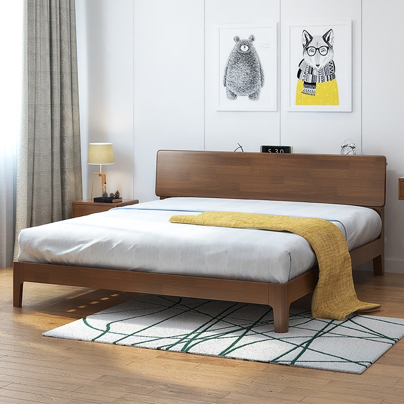 The new 1.5m1.8 meters double Nordic master bedroom modern minimalist Japanese wedding bed bed bed